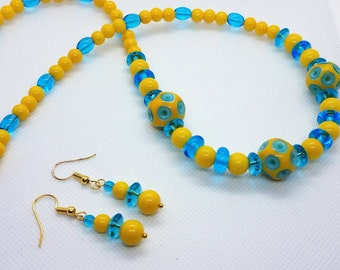 Lampwork Yellow and Blue Necklace and Earring Set, gift for mom grandma sunday church, Mother's day handmade jewellery accessorize bling