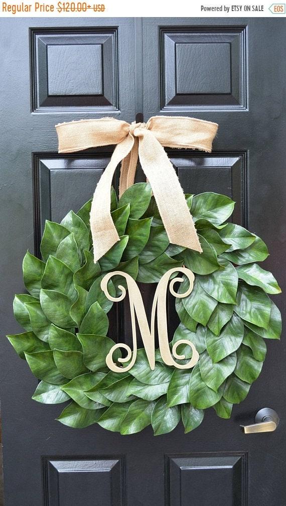 SUMMER WREATH SALE Magnolia Wreath, Artificial Magnolia Wreath, Magnolia Leaves Door Wreath, Fixer Upper Southern Decor Year Round Wreath