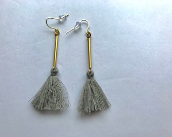 Minimalist Grey Tassel Earrings