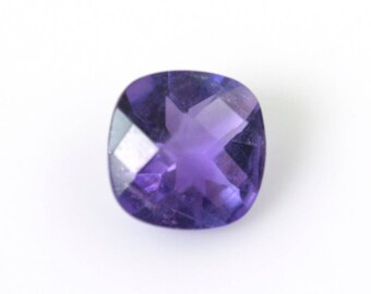Natural Amethyst Gemstone : 0.70cts. 100% Natural Purple Amethyst Loose Gemstone Fancy  Checker Cut 6mm
