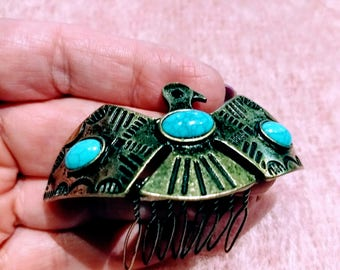 Vintage Bird Hair Comb Pin/Native American Hair Comb/Gift For Her/80,s Hair Comb  Turquise/Gold Metal and Stones Hair Comb/Gift Idea/No.300