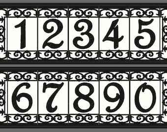Iron Scroll House Numbers Ceramic Address Tiles Framed Set -Spanish Iron Scroll Design