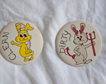 80s Angel Devil Bunny magnets for dishwasher - Vintage clean dirty signage for dishes