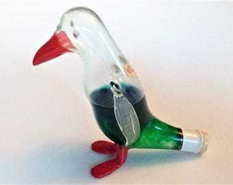 Bols Mini Bottle - Creme de Menthe Liquor Bols Liquer Bottle -Sealed Bols Penguin - Mini Blown Glass Figural Penguin Bottle - Covered Cork