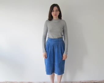 Vintage 1970s Ladies Powdery Blue Suede High Waisted Midi Skirt