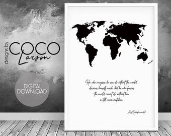 Travel quote, map quote, world map, world map print, world map quote, quote print, travel quotes, world map decor, quote poster, map decor