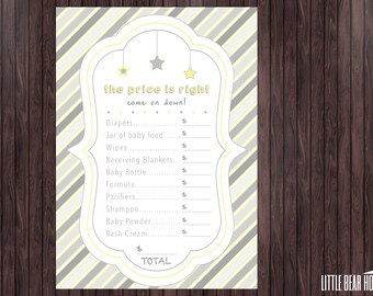 Printable Twinkle Twinkle Little Star Themed Baby Shower Price is Right Game