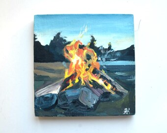 Small campfire painting, oil on canvas, tiny painting, small canvas, oil painting, campfire painting, explore paintind, gift for him, glicee