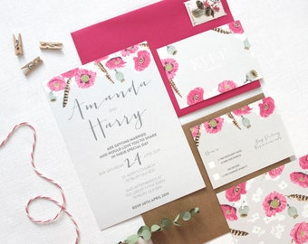 Bloom & Feather Wedding Invitation with Envelope