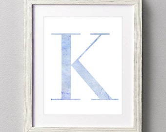 Letter K | Nursery Print | Nursery Art | Alphabet | Instant Download | Digital Print | Wall Art | Baby Boy | Initials | Blue | Watercolor