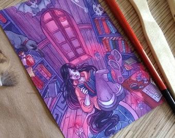 Vampires library postcard print watercolor illustration