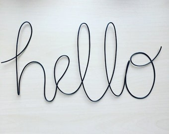 Handmade black wire 'hello' wall sign. Wire art, bathroom, scandi, wall sign, wall decor.
