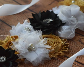 Gold white black sash, flower Belt, maternity sash, wedding sash, flower girl sash, maternity sash belt