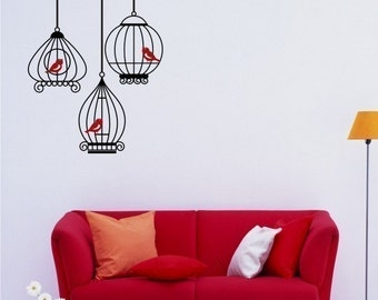 Birdcage Wall Decals with 3 birds - Wall Stickers Custom Home Decor