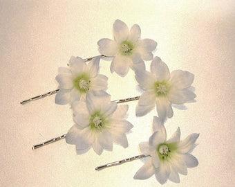 On Sale Blue Starflower (Polianthus) Hair Pins Set Of Five