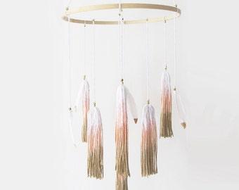 Bohemian Baby Mobile - Tassel Mobile - Feather Mobile - Baby Girl, Nursery Decor, Woodland Nursery, Boho, Bohemian - Gold, Peach, Pink.