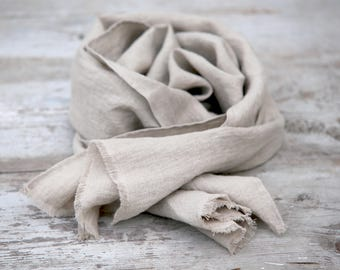 Natural linen colour softened linen scarf. Linen shawl. Flax scarfs. Linen scarves for women. Stone washed linen. Natural scarves.