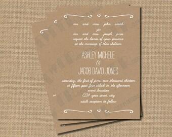Cottage Chic Natural Kraft Paper Wedding Invitation