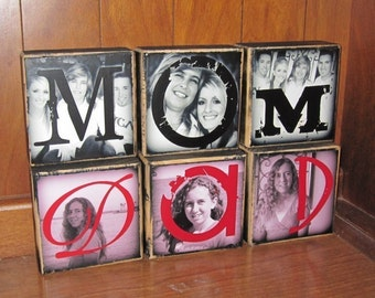 PERSoNALIZED Gift PHoTO BLOCKS- Photo Letter Blocks- MOM Dad POP Sis- set of Three