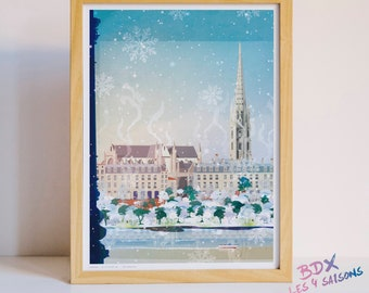 Poster illustrated Bordeaux in winter