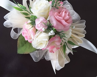 Pink blush corsage,  Pink ivory corsage,  blush ivory corsage