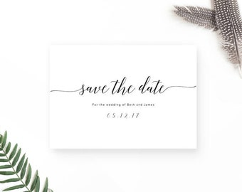 Minimal Save the Date / Simple Save the Date Cards / Printable Save the Date / Calligraphy Save the Date Cards / Modern Wedding Invitation