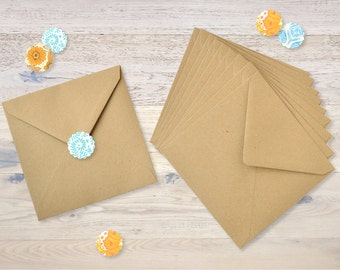 10 Kraft Brown Paper Envelopes 15,5 X 15,5 cm
