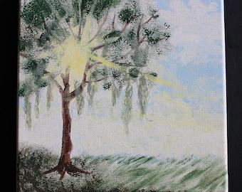 Oak Tree, Canvas Wall Art, Nature, Acrylic Painting, Household Decor