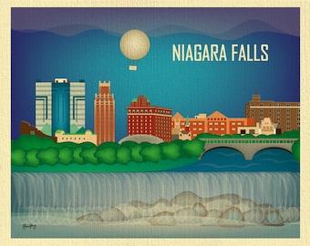 Niagara Falls Skyline Print, Niagara Falls Art Gift, NY Wall Art, NY Skyline Print, ny poster, Loose Petals Horizontal - style E8-O-NIA