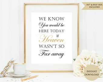 We know you would be here today sign (INSTANT DOWNLOAD) - If heaven wasnt so far a way sign - In loving memory sign - Memorial sign SB001