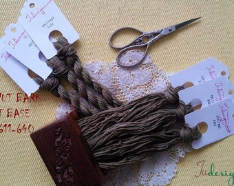 Hand painted matt cotton floss 'CHESTNUT BARK' hand dyed thread for embroidery, cross stitch, punto cruz, point de croix, blackwork