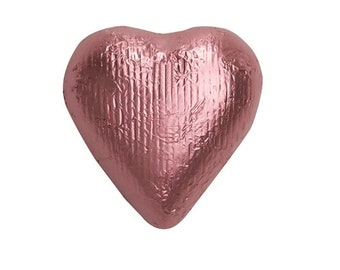Sweetworks Hearts Solid Milk Chocolate Candy - Light Pink - 1 LB Bag