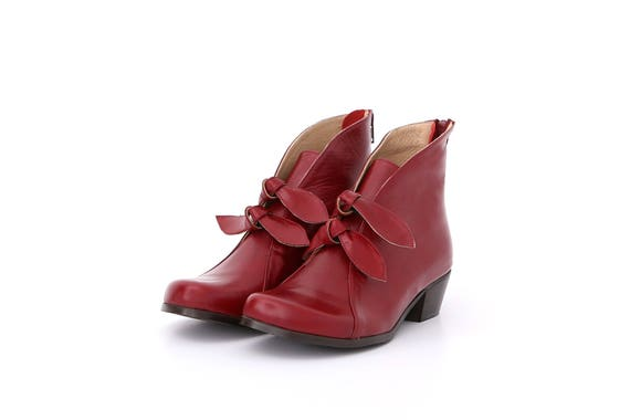 ADIKILAV with boots free Womens Leather chunky shipping Boots ankle heel Burgundy qxwAw84H