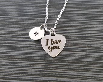 I Love You Necklace - Love Necklace - Personalized Necklace - Custom Initial Necklace - Gift for Mom - Best Friend Gift - Custom Necklace