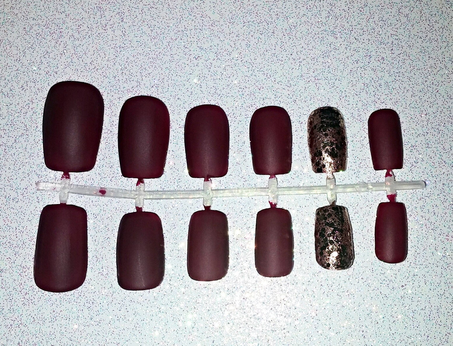 SALE Matte Burgundy Fake Nail Set Press on Nails Glue on