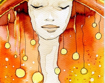 Small Original Watercolor Painting. 15x23 cm, woman, girl,  illustration, portrait,gold, red , abstract, painting, art,