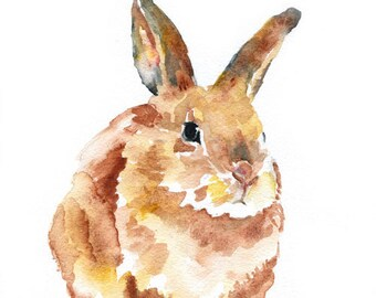 Watercolor Painting Bunny Rabbit Watercolor Giclee Print 11x14