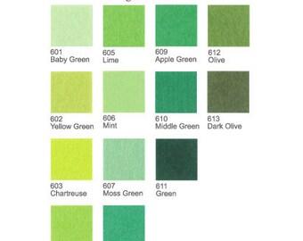 5 Plain Felt Sheets - Greens - 20cm x 20cm - Pick your own 5 colors