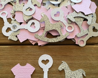 Pink Baby Shower Confetti, Rocking Horse Confetti, It's a Girl, Pink Onesie Confetti, Rattle Confetti, Silver Confetti, Girl Baby Shower