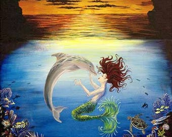 The Dolphin & the Mermaid: The Kiss, Dolphin and Mermaid Painting, Nautical Painting, Dolphin Painting, Mermaid Painting