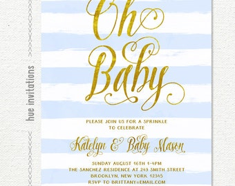 baby sprinkle invitation boy, gold baby blue and white rustic stripes, printable boy baby sprinkle invites, its a boy baby shower invite 222