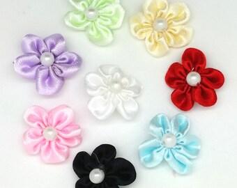 MAXI 8PCS APPLIQUES EMBELLISHMENT flowers to sew satin SATIN SCRAPBOOKING sewing SCRAPBOOKING 20mm