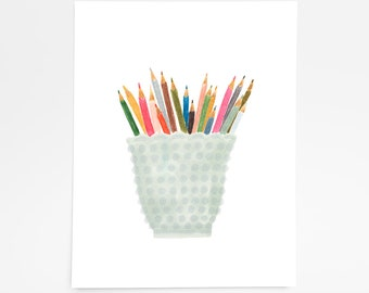 Glass Pencil Cup-Art Print- 8x10