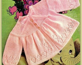 Vintage 70's Knit BABY Matinee Coat - PDF Pattern - Instant Download Pattern
