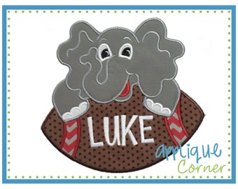 INSTANT DOWNLOAD Elephant on Football applique digital design for embroidery machine by Applique Corner