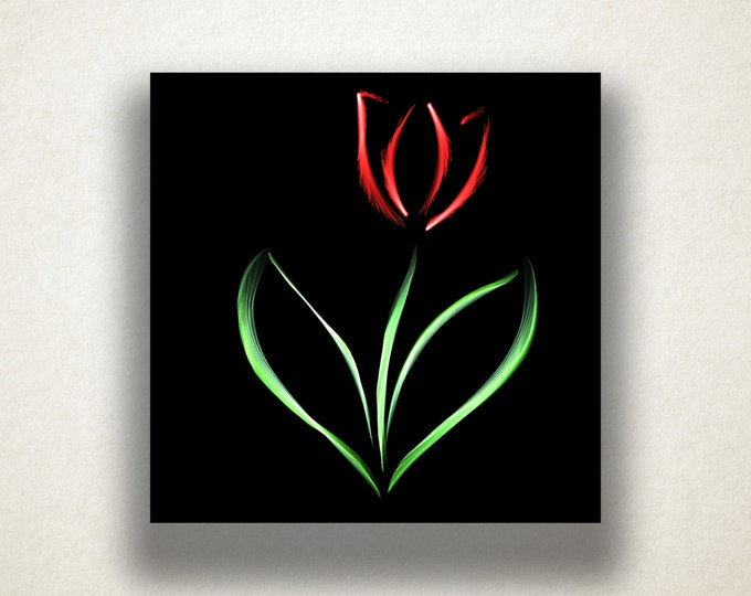 Tulip Canvas Art Print, Red Tulip Wall Art, Flower Canvas Print, Artistic Wall Art, Canvas Art, Floral Canvas Print, Home Art, Wall Art
