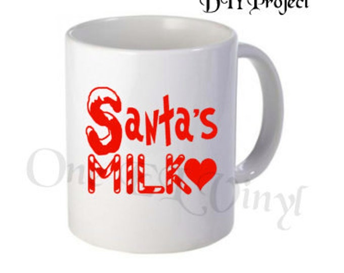 "DIY Decals - ""Santa's Milk"" - Christmas Vinyl Decals for  Coffee Mug, Tumblers, Glasses... Mug NOT Included"