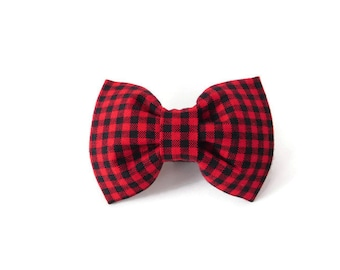 Buffalo plaid dog bow tie, plaid dog bow, red Christmas dog cat bow, plaid cat bowtie, holiday dog bow tie