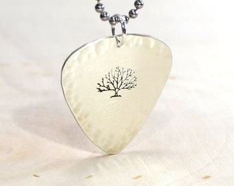 Tree if life necklace in guitar pick shape  - solid sterling NL034