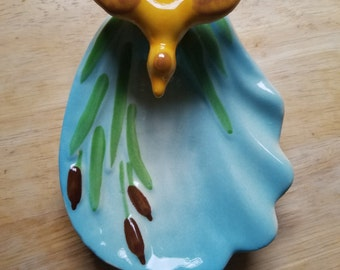 Vintage USA Opco pottery Zanesville Ohio duck on leaf cattails soap trinket dish ring ashtray